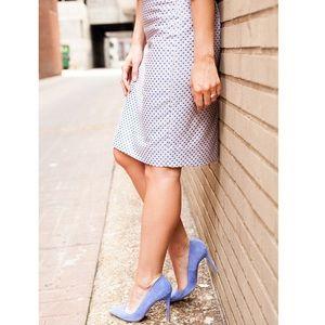 J. Crew Pencil Skirt in Blue Jacquard Dot